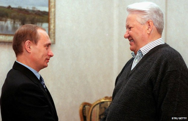 Vladimir Putin şi Boris Elţîn